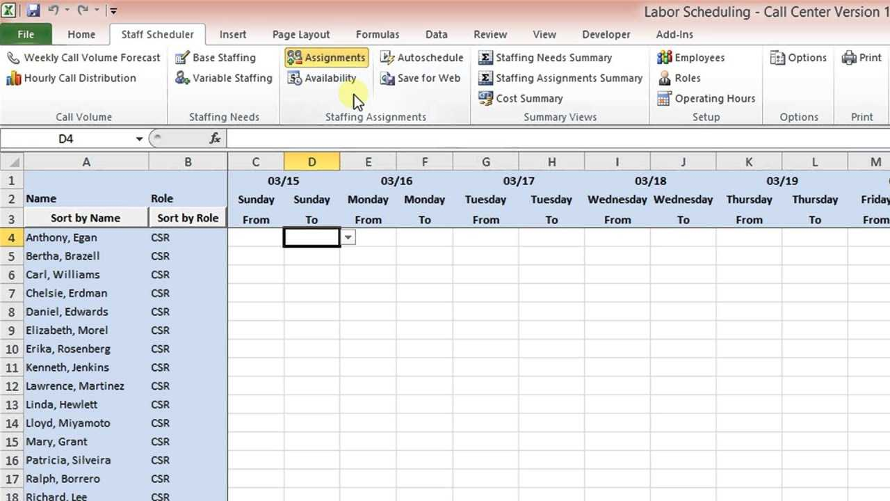 Labor Scheduling Template For Excel Call Center Version