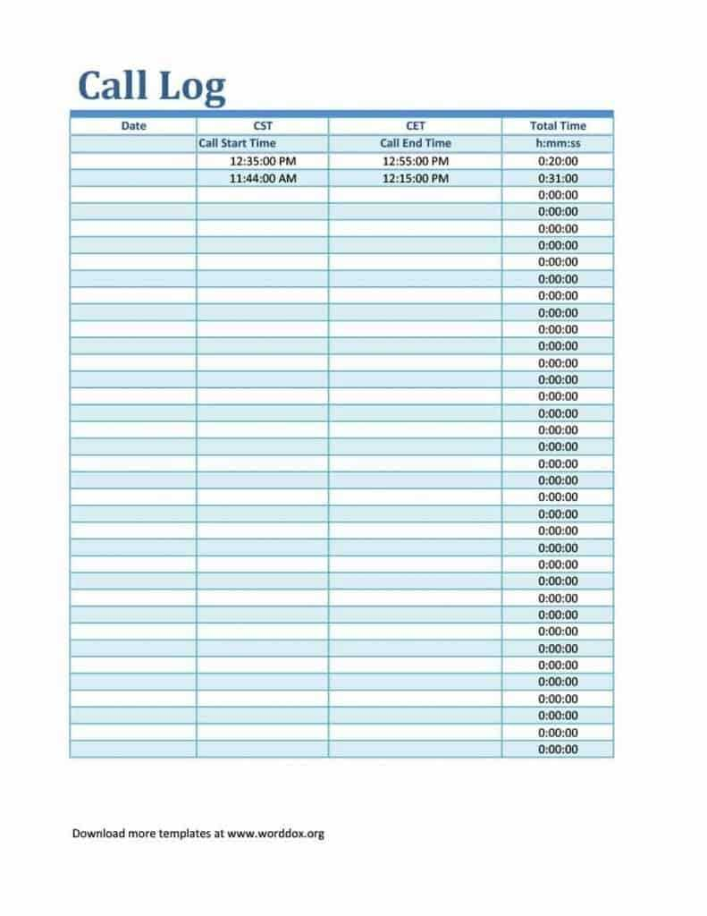 4 Sales Call Log Excel Templates Word Excel Formats