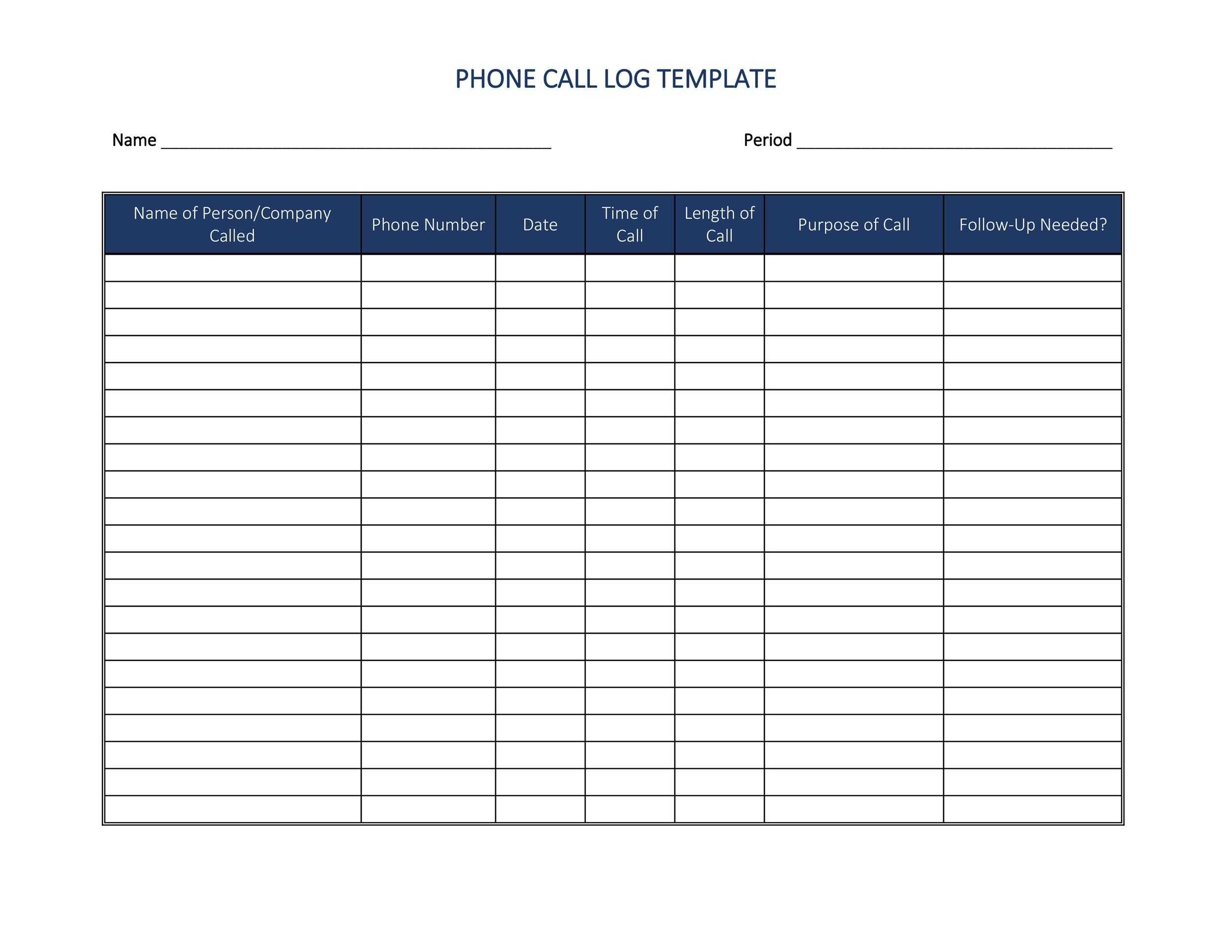 40 Printable Call Log Templates Word Excel PDF