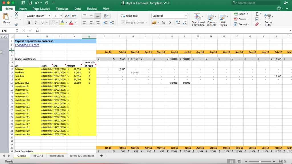 Capital Expenditure Forecast Excel Model Template Eloquens