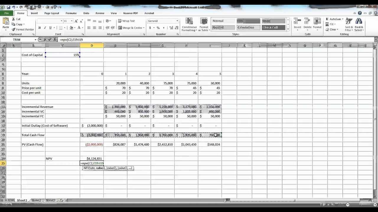 Capital Budgeting In Excel Example YouTube