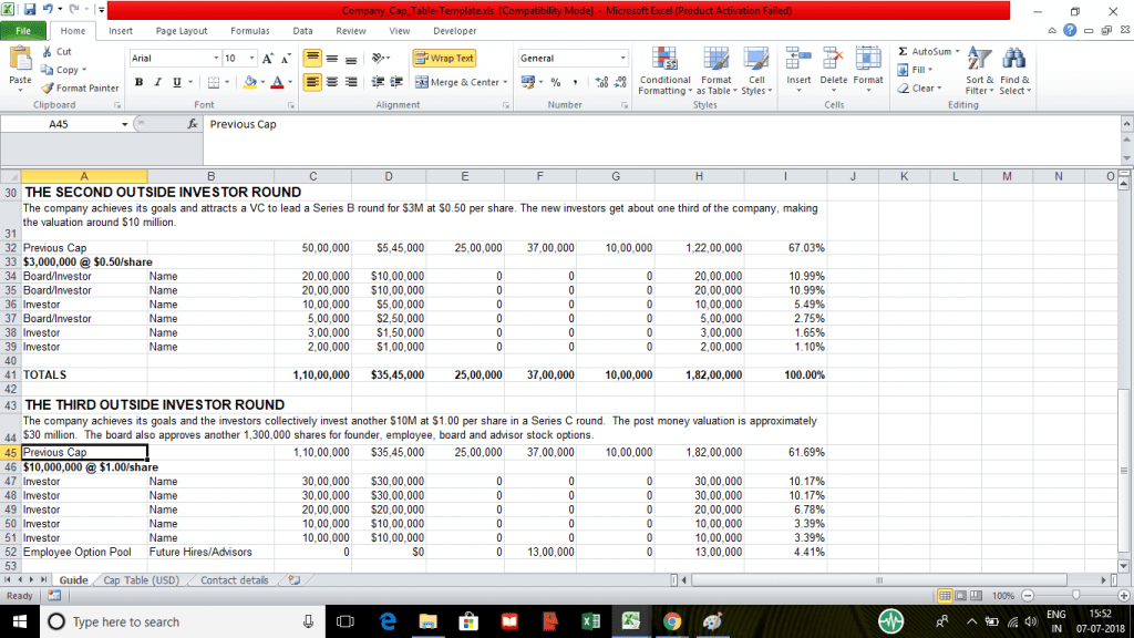 Company Capitalization Table Template EFinancialModels