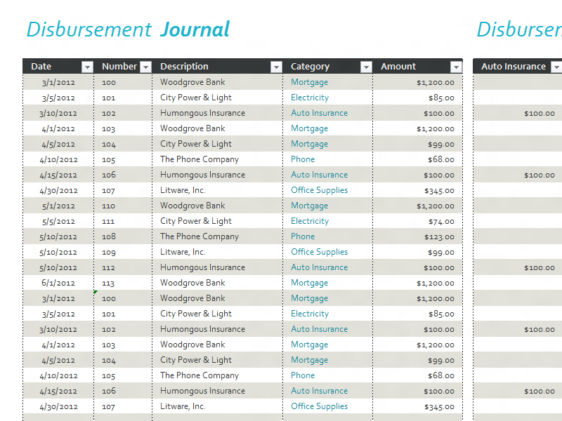Disbursement Journal For Microsoft Excel