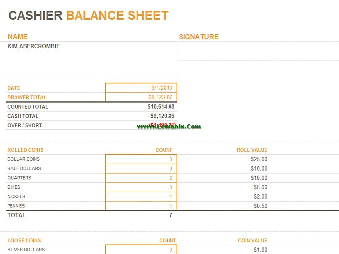 Cashier Balance Sheet Microsoft Excel Templates For Excel
