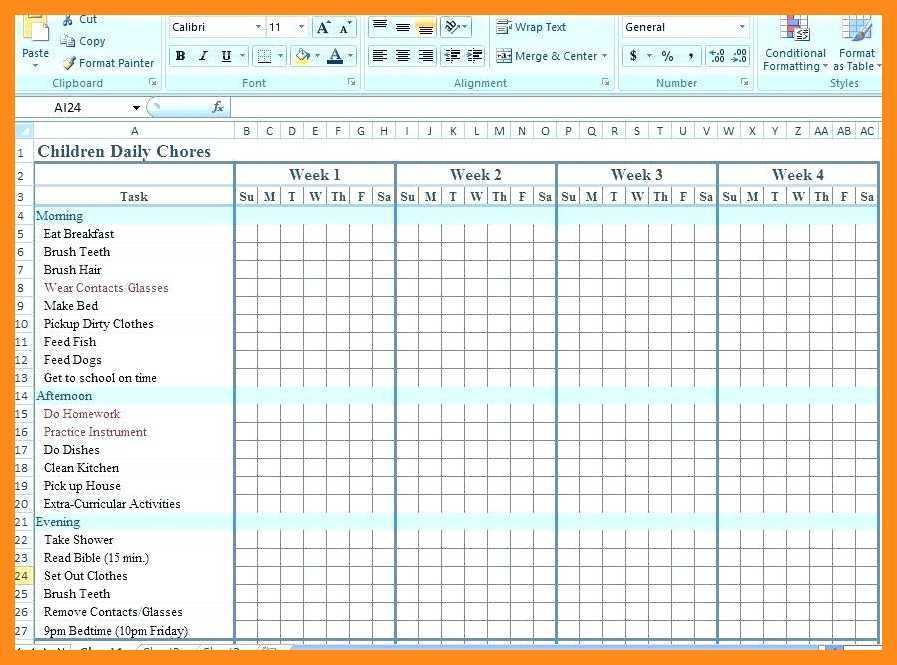 11 12 Chore Chart Template For Family Lascazuelasphilly