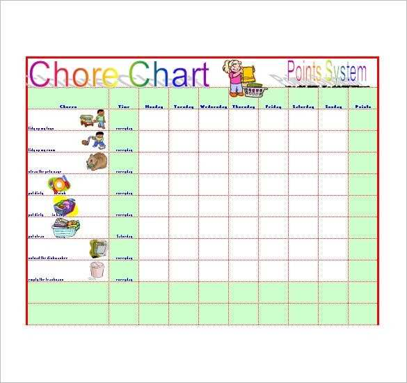 Chore List Template 10 Free Word Excel PDF Format
