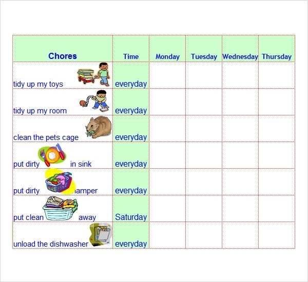 FREE 7 Chore List Templates In Word Excel PDF