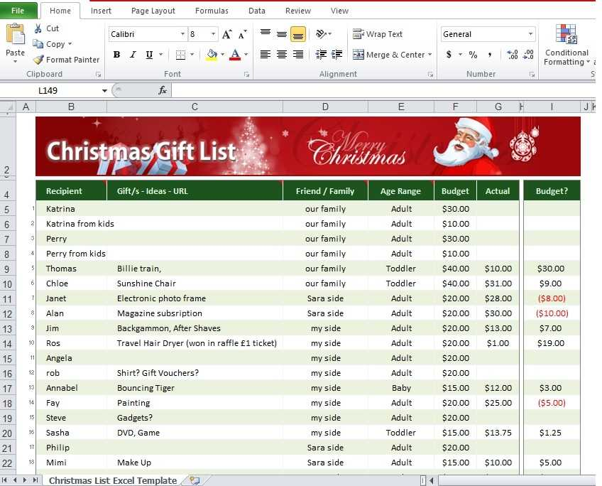 Download Christmas List Excel Template Free Excel TMP