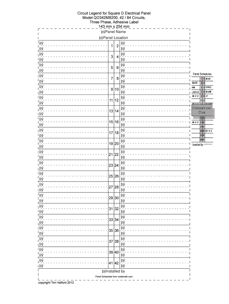 Electrical Panel Schedule Template Excel Akademiexcel