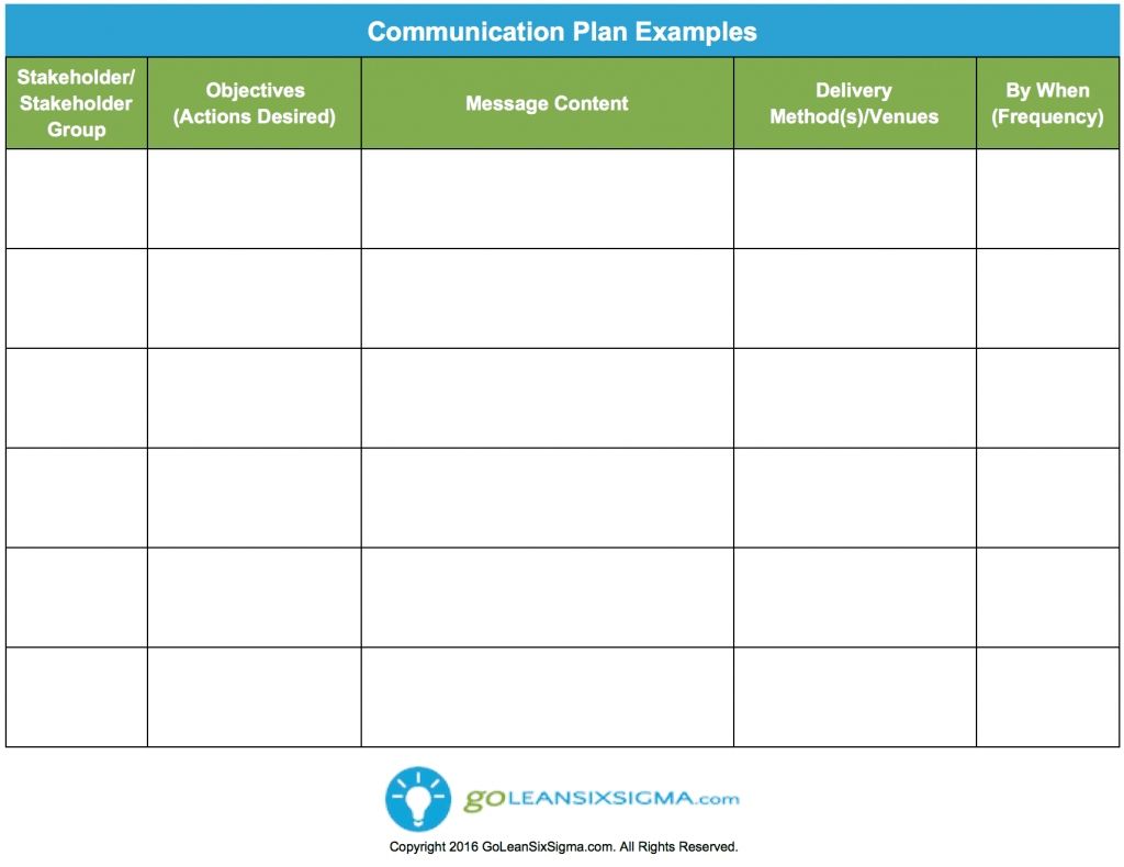 Communication Plan Template Example