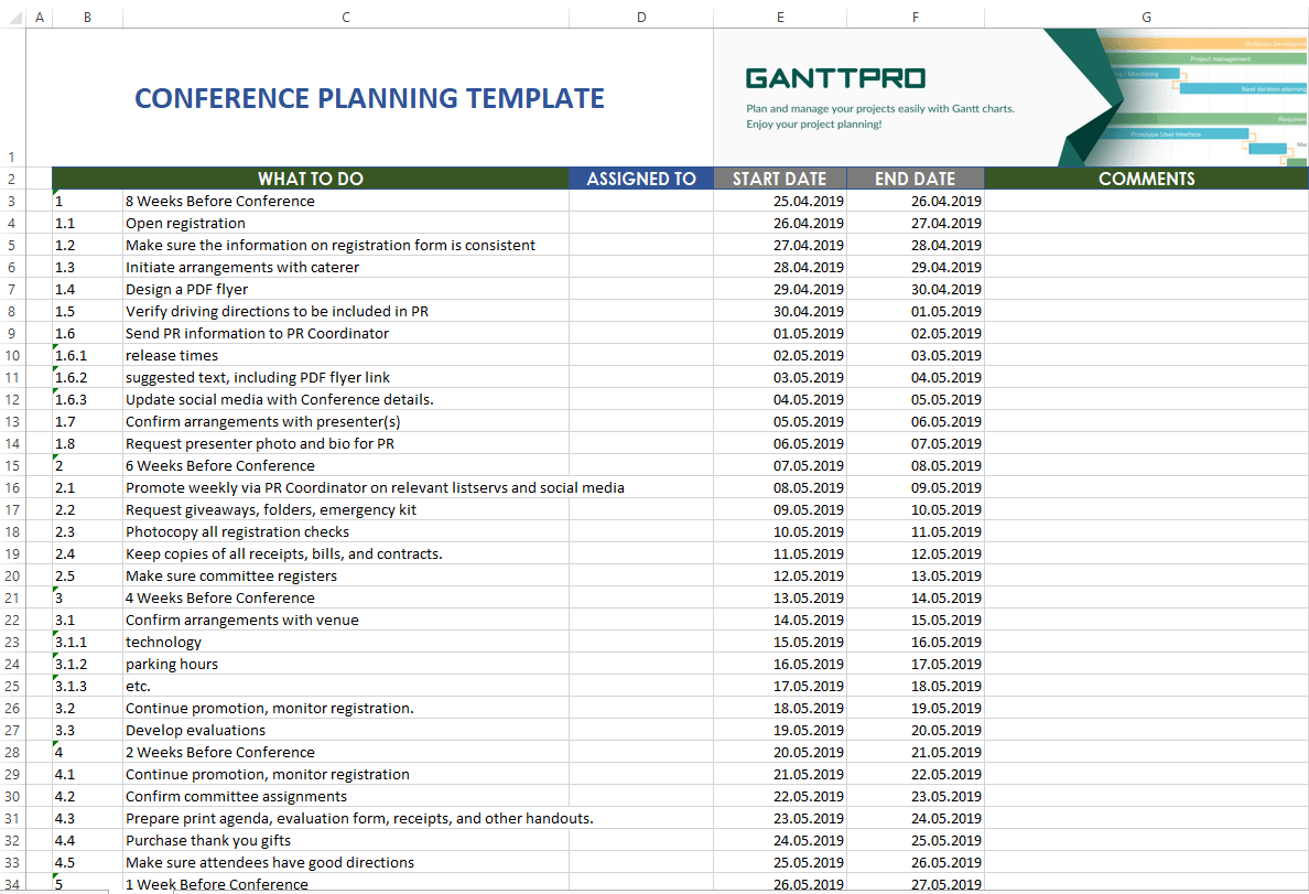Conference Planning Template Excel Template Free Download