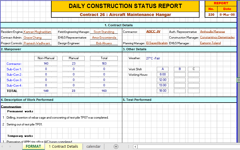 2 Construction Daily Report Template Excel With Examples