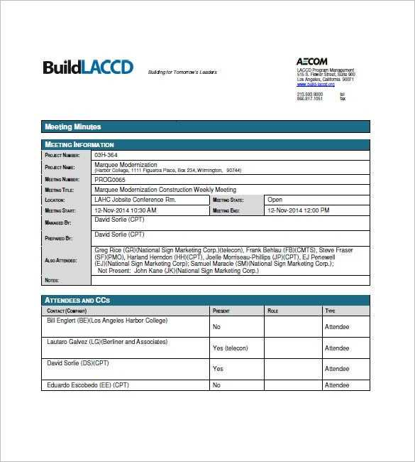 Construction Meeting Minutes Template 15 Free Sample