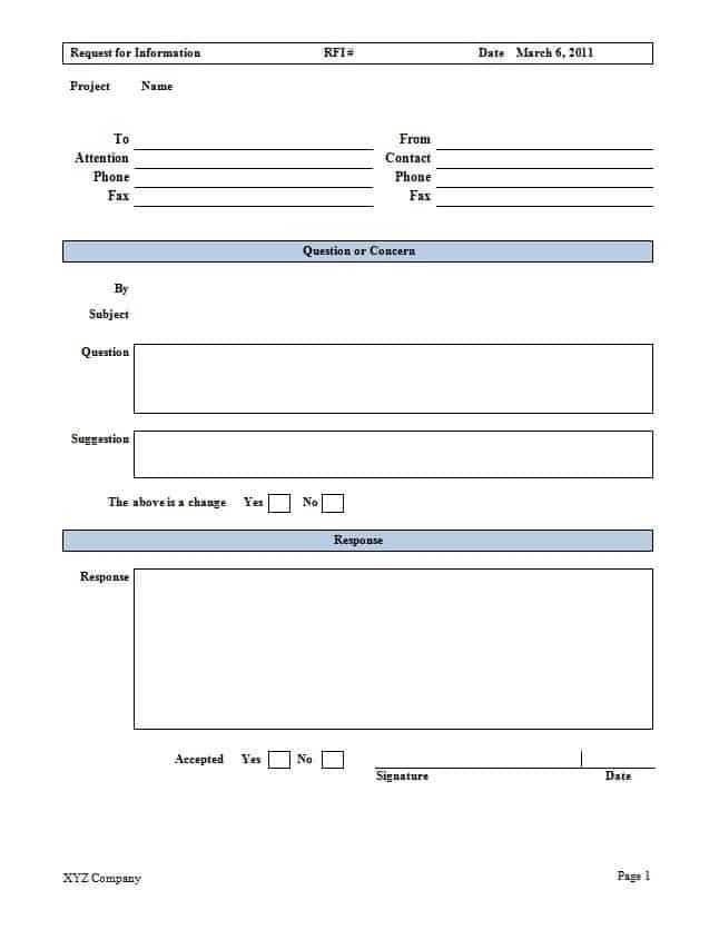 Construction RFI Templates Word Excel Samples