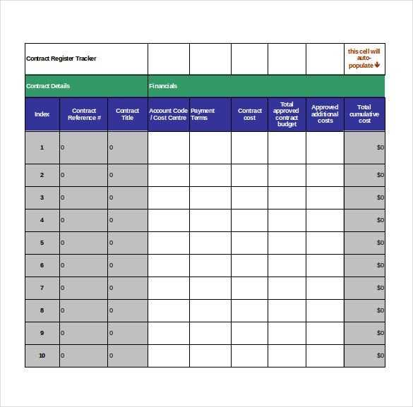Contract Tracking Template 9 Free Word Excel PDF
