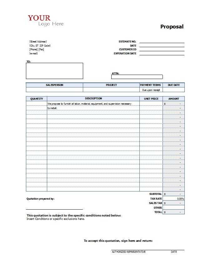 Construction Proposal Template Real Estate Forms