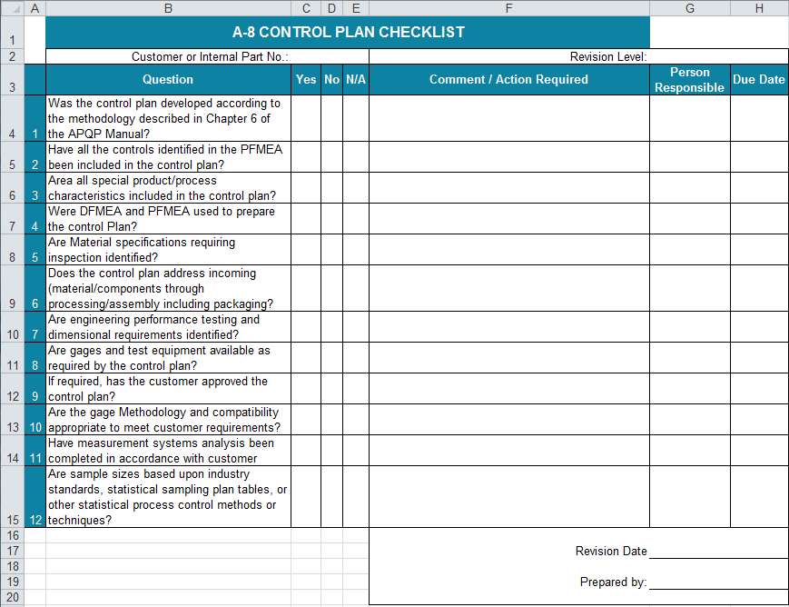 Control Plan Template In Excel Implement Controls To