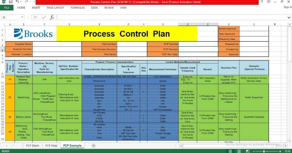 Process Control Plan Excel Template ENGINEERING MANAGEMENT