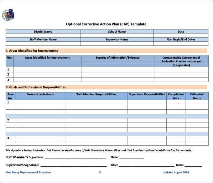 Corrective Action Plan Template 22 Free Word Excel