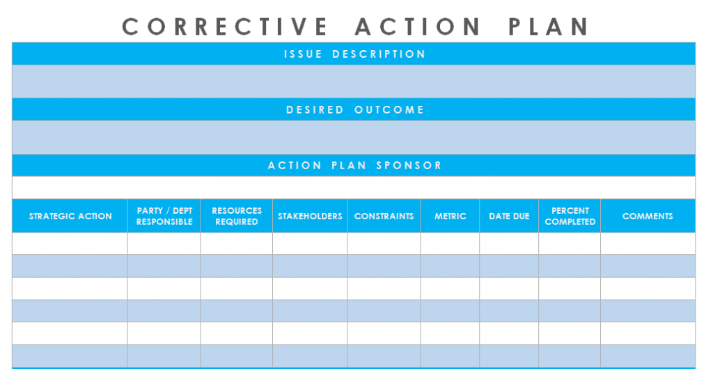 Get Corrective Action Plan Template Excel Microsoft