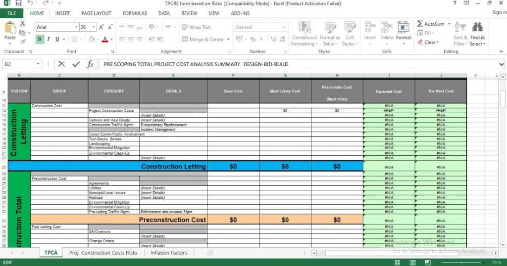 Total Project Cost Analysis Excel Template ENGINEERING