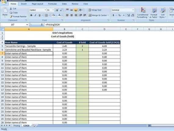 4 Cost Of Goods Sold Templates Excel Xlts