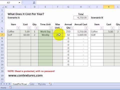 Calculate Annual Costs And Savings With Excel Template