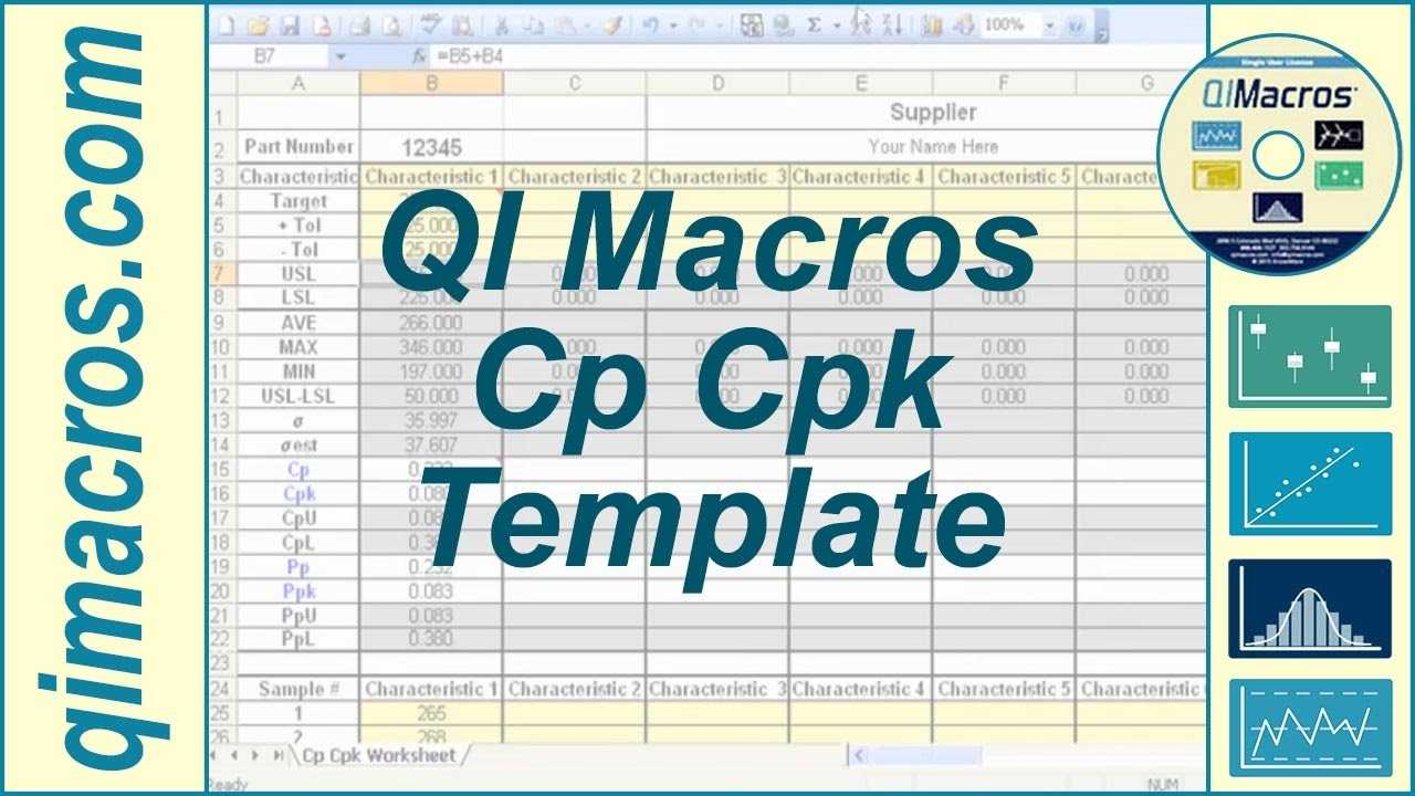 Cp Cpk Template In Excel To Perform Process Capability