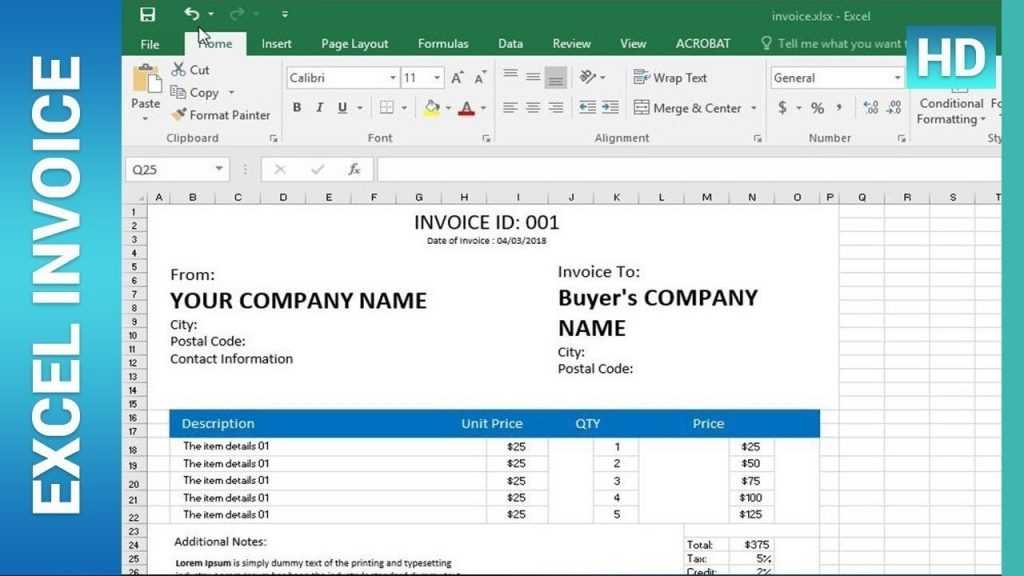 How To Create An Invoice Template In Excel Excel