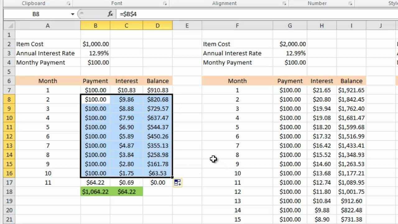 Calculating Credit Card Payments In Excel 2010 YouTube