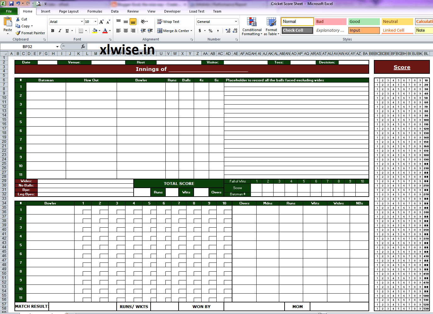 Cricket Score Sheet 50 Overs Excel The Wise Way
