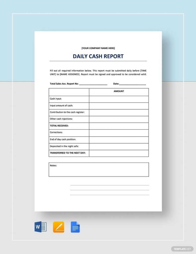 Daily Cash Report Template In 2020 Sales Report Template