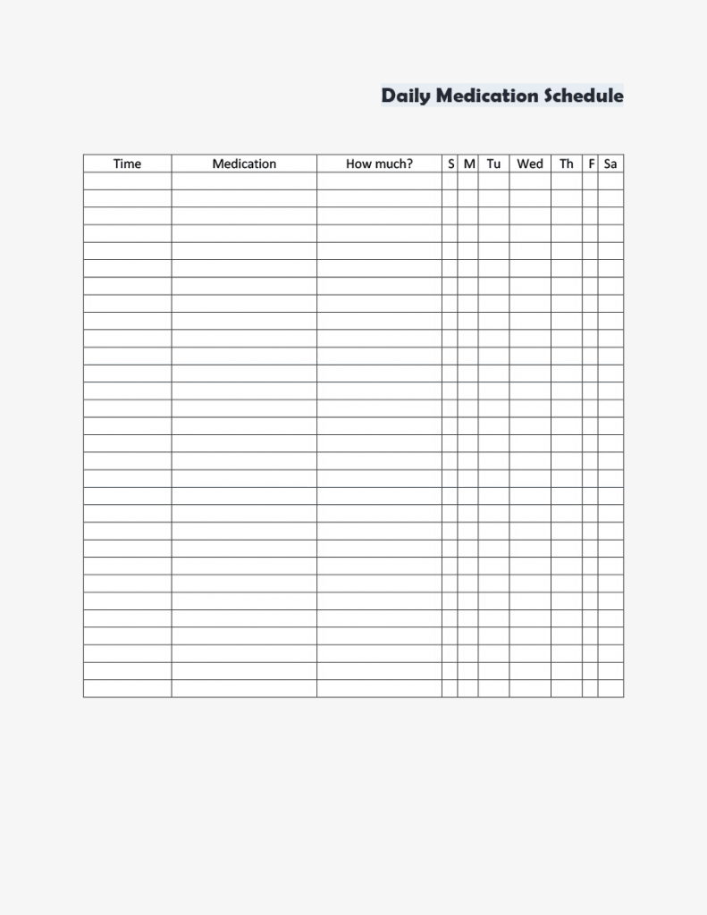 11 Daily Medication Schedule Templates Word Excel Formats