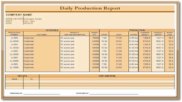 Daily Production Report Template Excel PDF Format