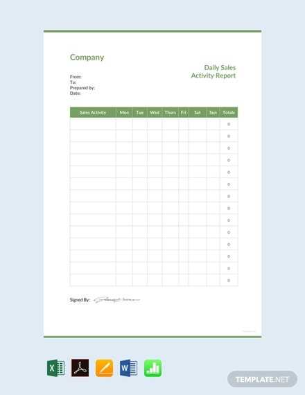 FREE Daily Sales Activity Report Template PDF Word