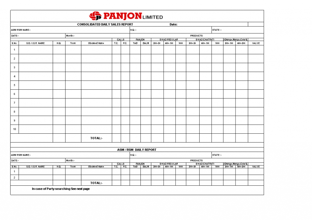 Daily Sales Report Excel Templates At