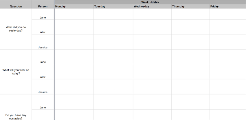 Daily Standup Meeting Excel Template For Your Scrum Team