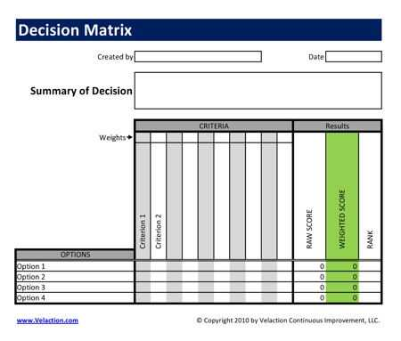 Decision Matrix Template FREE DOWNLOAD AVAILABLE