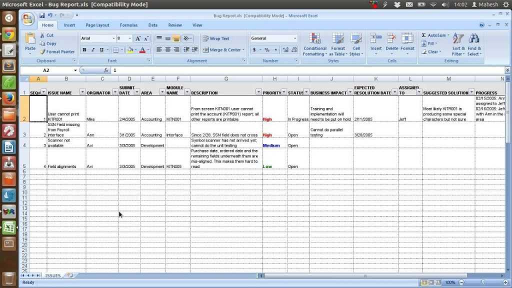 Defect Tracking Template Xls YouTube