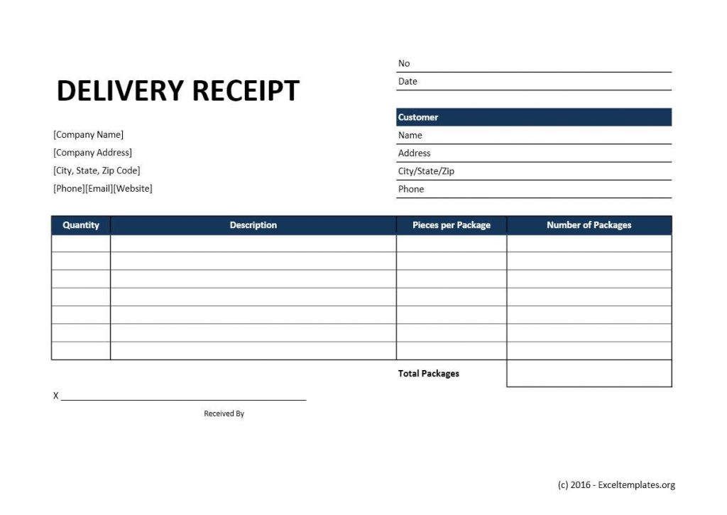 Delivery Receipt Template Excel Templates Excel