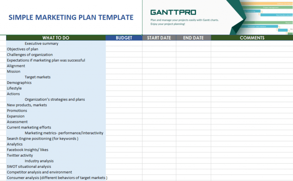 Simple Marketing Plan Template Free Download Excel