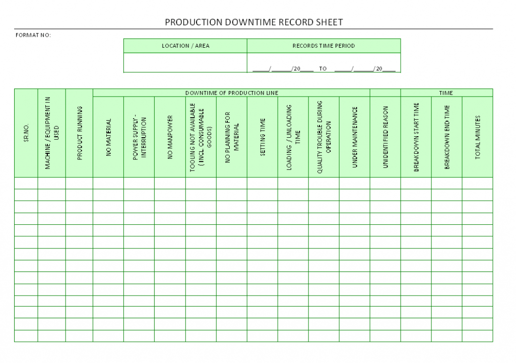Machine Downtime Tracking Spreadsheet Db excel