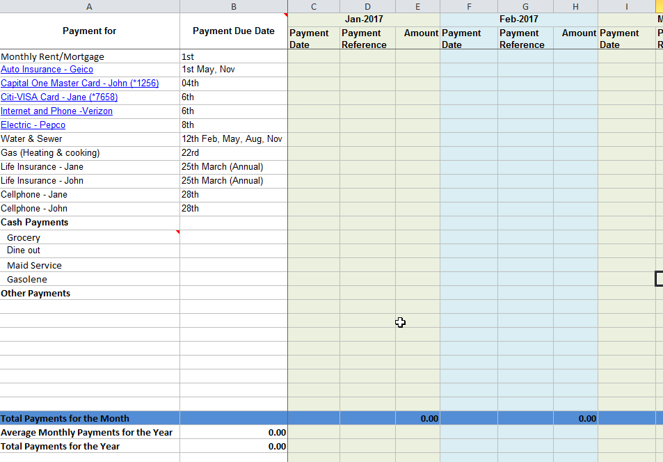 Monthly Bill Due Date And Payment Tracking Template Excel