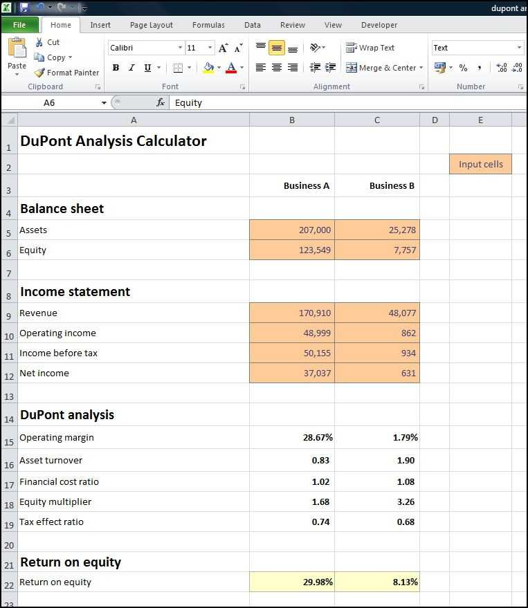 DuPont Analysis Calculator Plan Projections