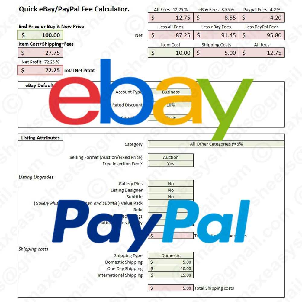 EBay PayPal Fees Calculator Simple Fee Calc Excel