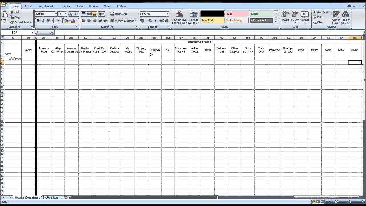 Free EBay Spreadsheet Template Using Excel YouTube