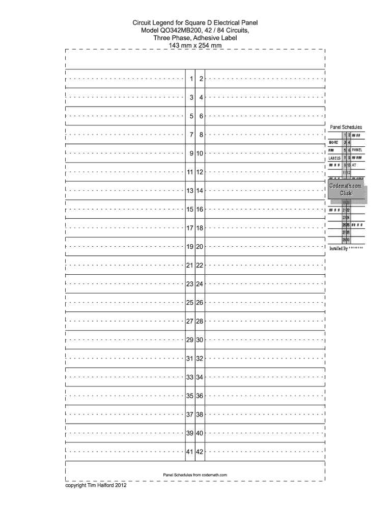 Electrical Panel Label Template Excel Fill Online