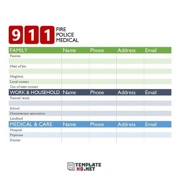 28 Emergency Contact List Template And Who Should Be