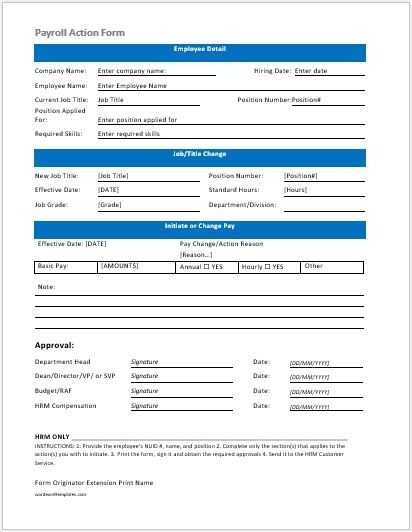 Employee Payroll Action Form Template Word Excel Templates