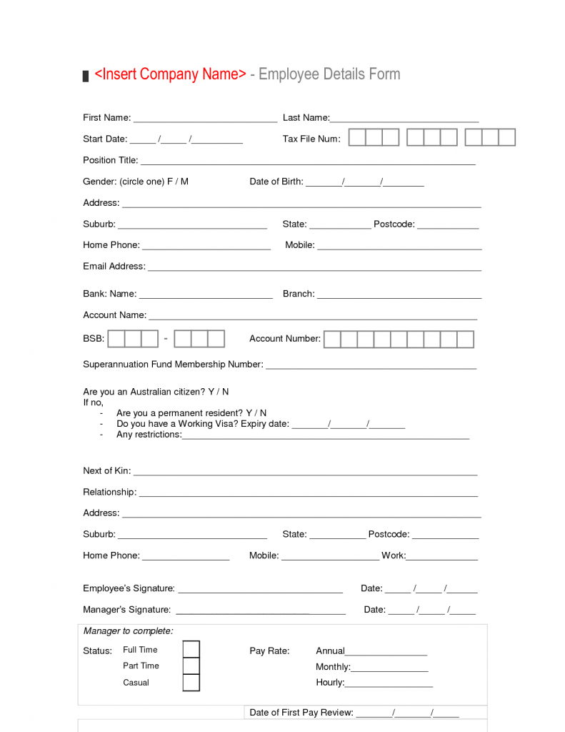 New Hire Employee Details Form Template Sample Vlashed